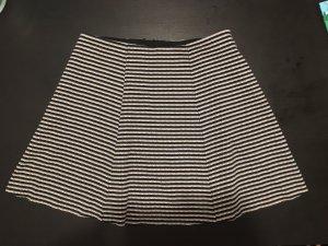 H&M Jupe corolle blanc-bleu foncé
