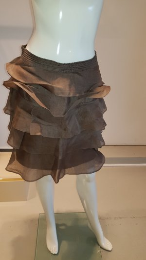 Zara Flounce Skirt grey brown