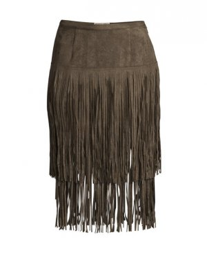 Fringed Skirt ocher polyester