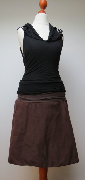 Circle Skirt dark brown-black brown cotton