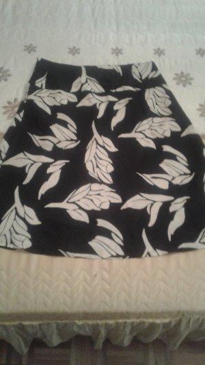 HM Falda de lino negro-blanco puro