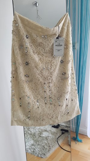 Zara Lace Skirt cream polyester
