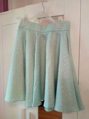 Orsay Falda de talle alto azul claro-marrón arena Poliéster