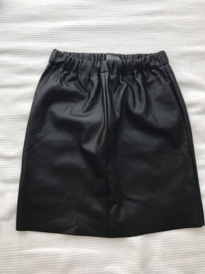 Ichi Faux Leather Skirt black imitation leather