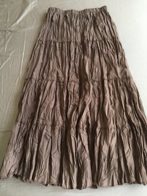 Pleated Skirt dark brown polyester