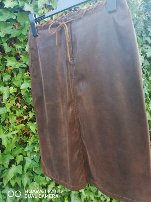 Maille Demoiselle Leather Skirt brown