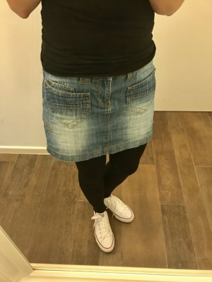 Rock Jeans Jeansrock Minirock Waschung blau kurz mit Taschen