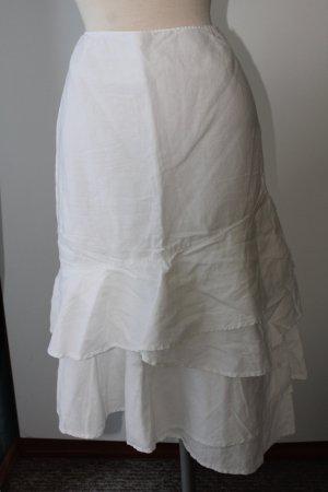 Rock Knielang gerüscht Esprit Gr. 40 UK 12 M weiß Leinen Baumwolle