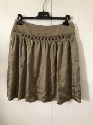 Silk Skirt ocher-olive green