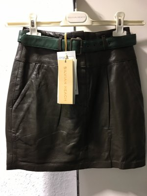 Silvian heach Leather Skirt green grey-dark green
