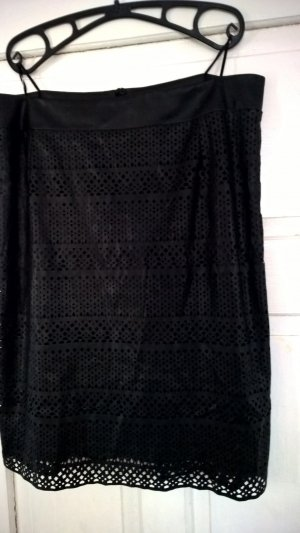 Mona Falda de cuero de imitación negro Viscosa