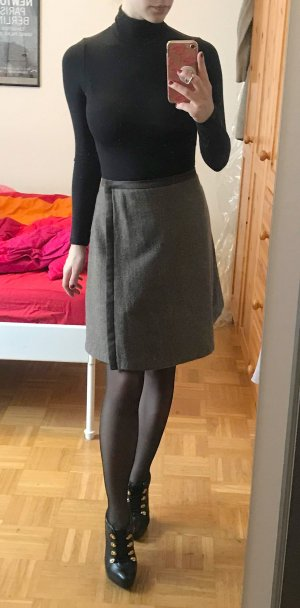 Rock MaxMara Gr. 34 XS Wickelrock braun tweed wickel Midi büro business wolle