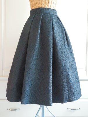 H&M Midi Skirt dark blue polyester