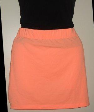 Rock Mini Minirock orange Jersey Schlupfrock Gummizug Taille 32 34 36 XS S Neu