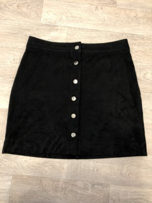H&M Falda de talle alto negro-color plata