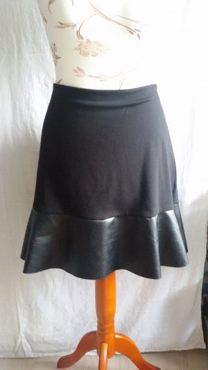 Blue Motion Faux Leather Skirt black