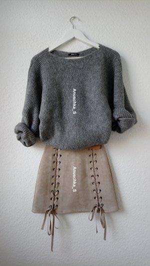 Rock mit Schnürung Lace Up Skirt Beige Brown Suedette Suede Mini Skirt Minirock Bleistiftrock