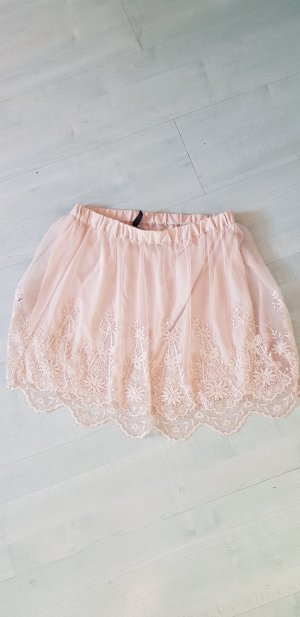 H&M Falda de encaje crema