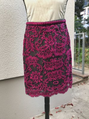Anthropologie Lace Skirt dark grey-raspberry-red