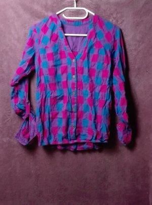 Houthakkershemd staalblauw-roze