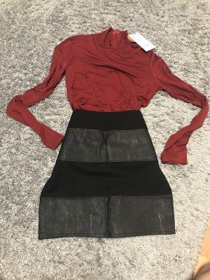 Leather Skirt black-dark red