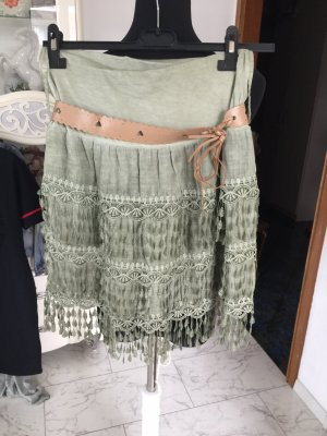 Broomstick Skirt oatmeal-lime-green