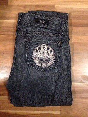 Rock & Republic Denim Biker Stretch Victoria Beckham Rock Metal Gothik cool Jeans Skull Stitching silber dark dunkel schmal 26