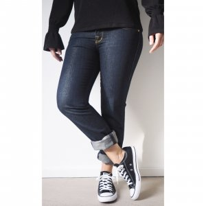Rock & Republic Jeans 29 Dunkelblau Gold Schimmer Straight Leg Logo Stickerei