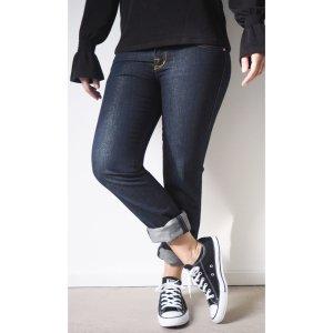 Rock & Republic Jeans 29 Dunkelblau Gold Schimmer Straight Leg Logo Stickerei