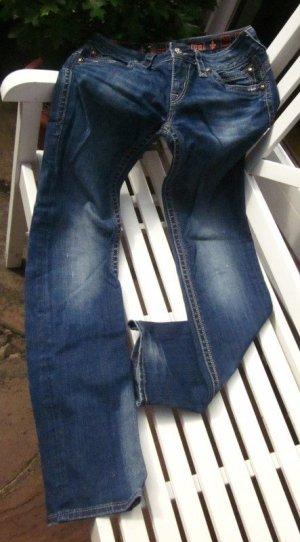 Rock Revival Low-Rise Trousers light blue-blue cotton