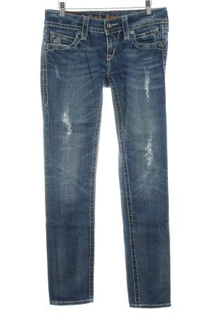 Rock Revival Skinny Jeans blau Farbverlauf Logo-Applikation aus Leder