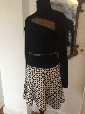 Mango Flared Skirt black-white