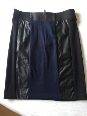 Rock schwarz dunkelblau Leder