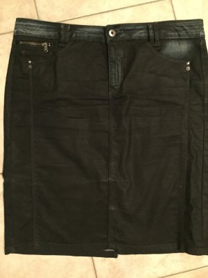 Rock - schwarz - Jeans gechinzt - Gr. 44
