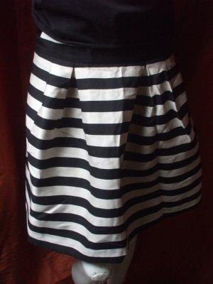 H&M Jupe taille haute noir-blanc cassé viscose