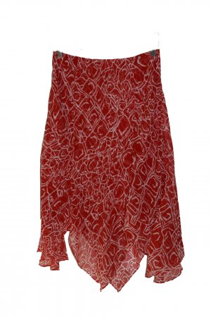 Escada Midi Skirt red-white silk