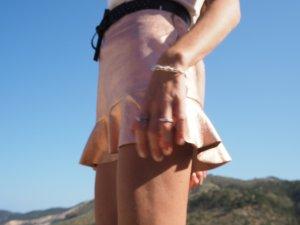 Rock suede rosegold everrose metallic Glockenrock Lederrock Ibiza Bohemian blogger boho