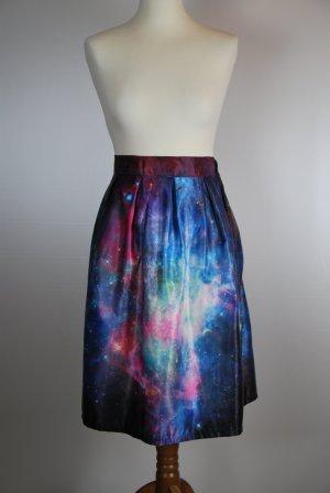Jupe mi-longue multicolore polyester