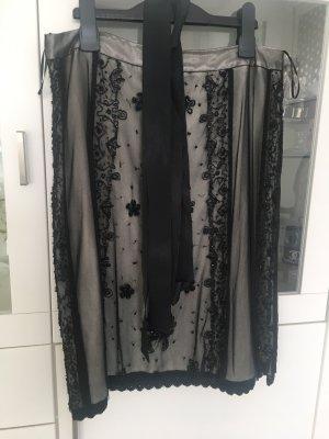Tintoretto Falda de encaje negro-crema