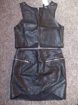 H&M Divided Falda de cuero de imitación negro Imitación de cuero