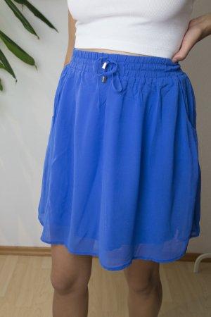 Hallhuber Silk Skirt blue-neon blue silk