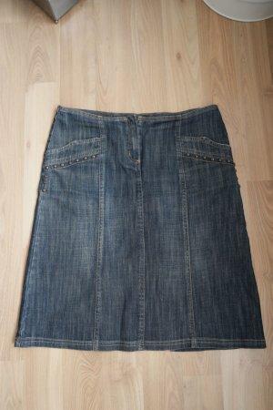 Rock von Passport Gr. 38 blau mit Nieten Jeansstoff, Jeansrock