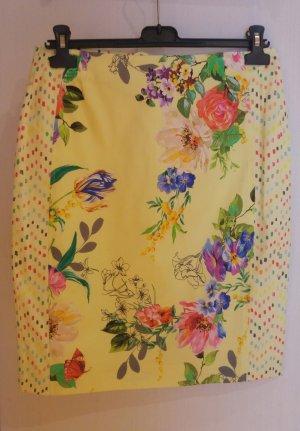Riani Pencil Skirt neon yellow cotton