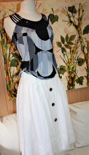 Zara Basic Falda de lino blanco Lino