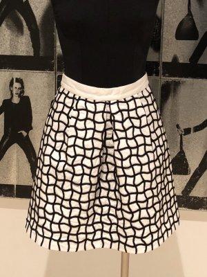 H&M Falda de talle alto blanco-negro