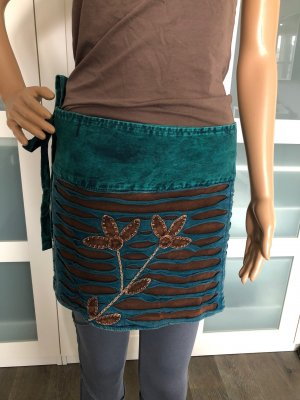 Wraparound Skirt petrol-dark brown