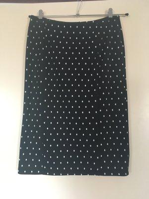 Rockabilly Polka Dot Pencil Skirt - Schwarz/Weiss - Gr. 36