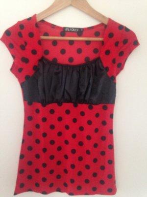 Rockabilly Shirt rot mit schwarzen Punkten