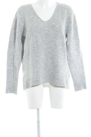 Rockamora V-Ausschnitt-Pullover hellgrau Casual-Look