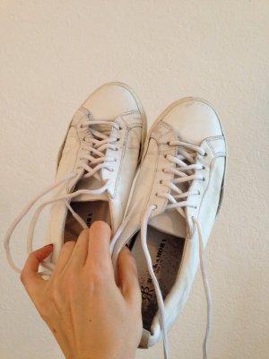 Rockamore Sneaker, weiß, weiße Schnürsenkel, Lederschuhe, Echtleder, Gr.40